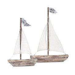 Wooden Statuary Sailboat, Set of 2