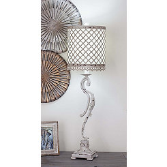 Abstract Table Lamp with White Lattice Shade