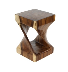 Suar Twisted Wood Small Accent Table