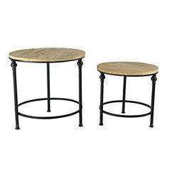 Wood Top with Metal Base Accent Tables, Set of 2