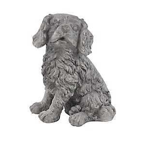 Gray Sitting Dog Statue