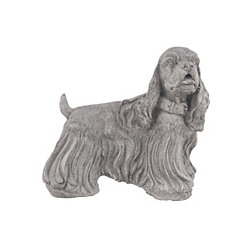 Gray Long Haired Dog Statue
