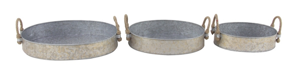 Oval Galvanized Tray with Handles, Set of 3