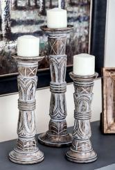 White Washed Mango Wood Candle Holders, Set of 3