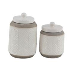 Beige Carved Stoneware Jars, Set of 2