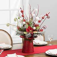Pre-Lit Red Top Hat Poinsettia Arrangement