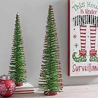 Green Bottlebrush Red Tips Christmas Tree, 24 in.