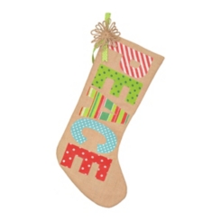 Burlap Peace Patterned Word Stocking