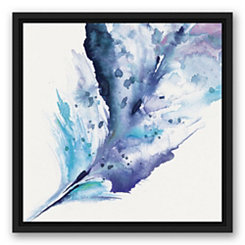 Feather Splash Black Framed Canvas Art Print