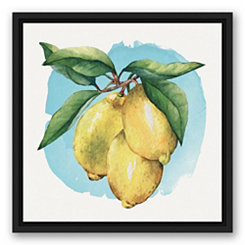 Lemon Vine Black Framed Canvas Art Print