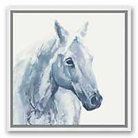 Blue Watercolor Horse Framed Canvas Art Print