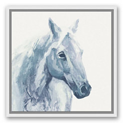 Blue Watercolor Horse Framed Canvas Art Print