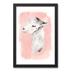 Blushing Llama Black Framed Canvas Art Print