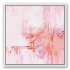 Blush Brushstrokes White Framed Canvas Art Print