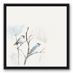 Blue Bird Branch Black Framed Canvas Art Print