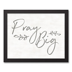 Pray Big Black Framed Canvas Art Print