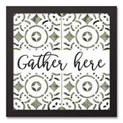 Gather Here Black Framed Canvas Art Print