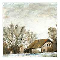 Painterly Barn Landscape Canvas Art Print