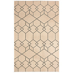 Interlocking Blocks Cream Woven Shag Rug, 5x8