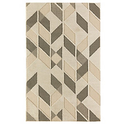 Kenric Cream Polyester Woven Shag Area Rug, 5x8