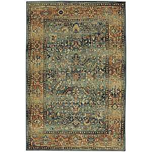 Blue and Orange Aksel Area Rug, 8x10