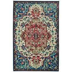 Multicolor Emiko Polyester Rug, 5x8