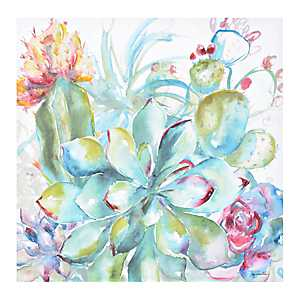 Watercolor Succulent Garden I Canvas Art Print