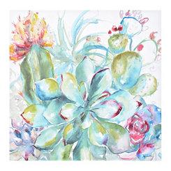 Watercolor Succulent Garden I Canvas Art Print