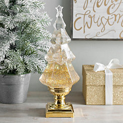 gold glitter christmas tree water globe