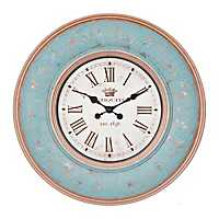 Vintage Turquoise Scroll Wall Clock