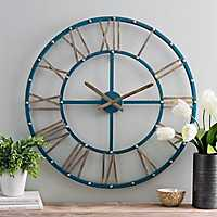 Addison Teal and Gold Metal Wall Clock