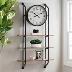 Metal Industrial Wall Shelf with Clock
