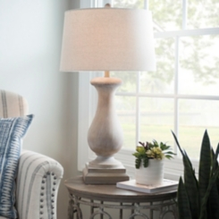 Savy Distressed Cream Table Lamp