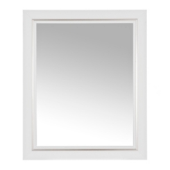 White with Silver Stripe Framed Mirror, 27.5x33.5