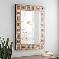 Wood Blocks Framed Wall Mirror, 30x40 in.