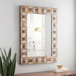 Wood Blocks Framed Wall Mirror, 30x40 in.