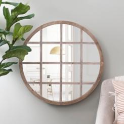 Natural Circle Paned Wall Mirror