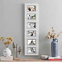 6-Opening White and Gray Wood Panel Collage Frame