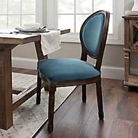 Blue Velvet Oval Back Dining Chair