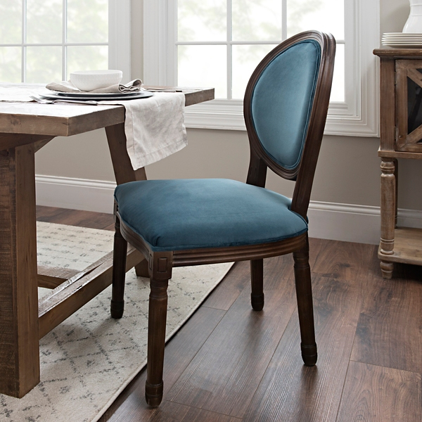 Furniture sale Model Home Blue Velvet Oval Back Dining Chair Affordable Furniture Furniture Sale Kirklands