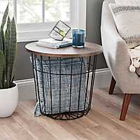 Wire Basket Accent Table with Bronze Wood Top