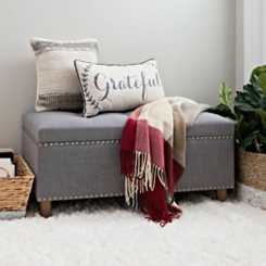 Dark Gray Linen Storage Bench with Nailhead Trim