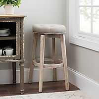 Light Gray Linen Swivel Counter Stool