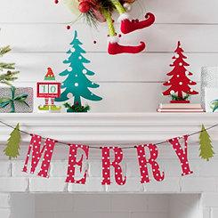 red polka dot merry christmas banner