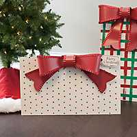 Metal Red and Green Dot Patterned Present Plaque