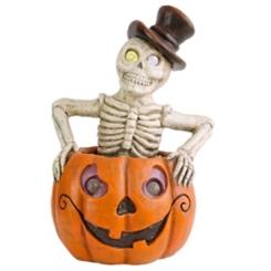 Skeleton in Pumpkin LED Halloween Statue