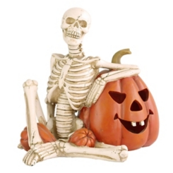 Lighted Skeleton Leaning on Pumpkin Statue