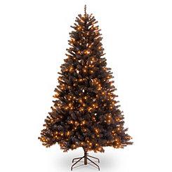 Black Spruce Tree with Orange Lights, 6.5 ft.