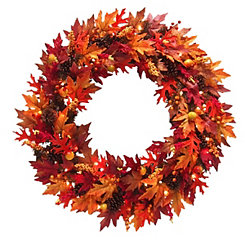 Pre-Lit Harvest Maple Wreath