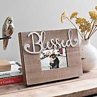 Galvanized Cut-Out Blessed Wood Picture Frame, 5x7